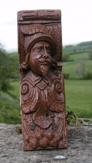 17thc Oak Carved Medieval Soldier Corbel C.  1690 ' S photo
