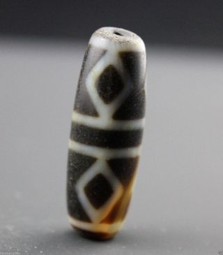 38 13 Mm Oriental Vintage Unusual Tibetan Old 6 Eyes Dzi Bead photo