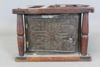 The Absolute Best 18th C Heart Decorated Connecticut Punched Tin Footwarmer photo