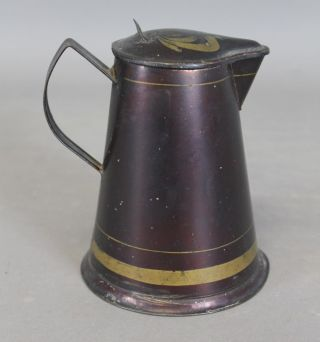 19th C Tin Toleware Cream Pitcher In Japanned And Painted Surface photo