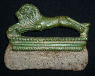 Roman Ancient Fire Striker - Bronze Handle - Lion Statuette Circa 200 - 300 Ad photo
