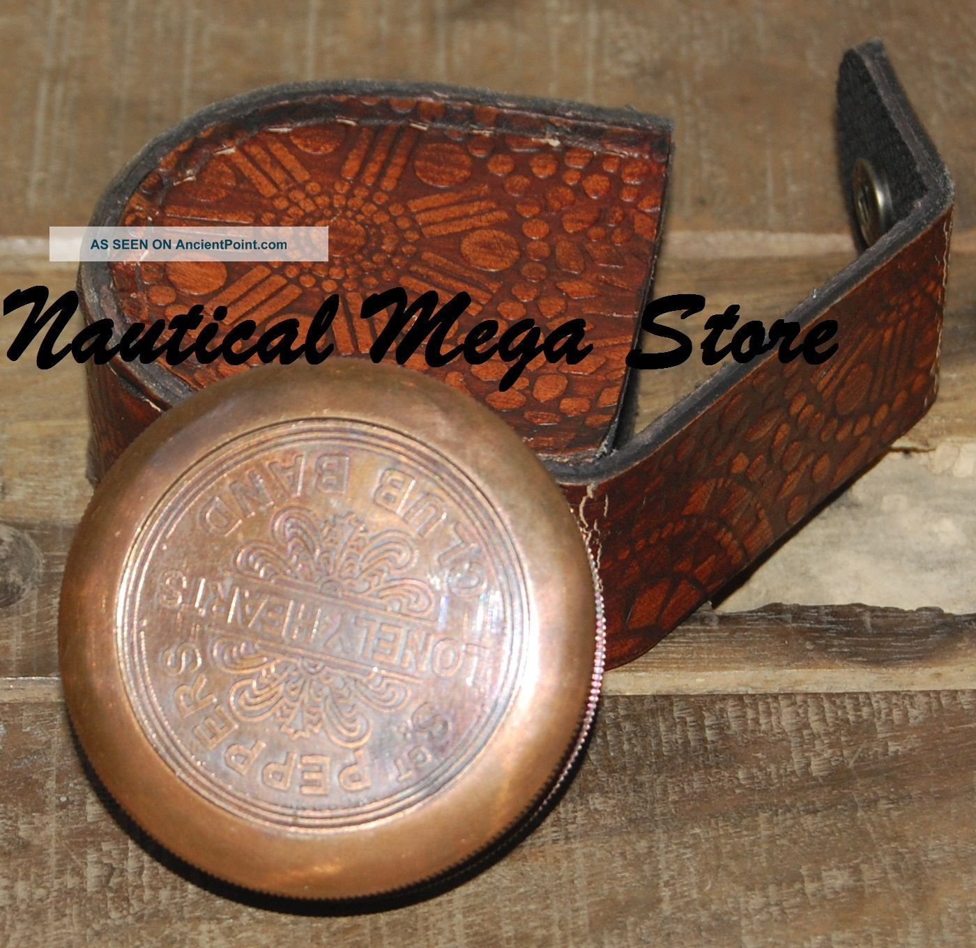 Brass Compass Poem Compass W/leather Case Engraved Compass Marine Compass Compasses photo