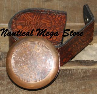 Brass Compass Poem Compass W/leather Case Engraved Compass Marine Compass photo