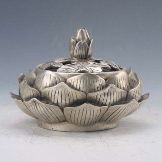 Chinese Tibetan Silver Hand - Carved Lotus Incense Burner Qianlong Z206gd4894 photo