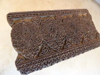 Antique Wooden Textile Print Block Hand Printing Block Border Floral Pattern photo