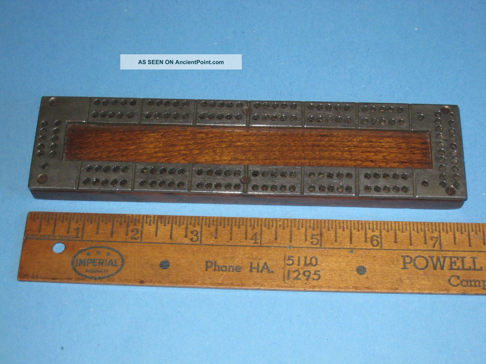 Vintage Cribbage Board C.  1920 ' S Compact Miniature Hardwood & Cast Metal Top Other Maritime Antiques photo