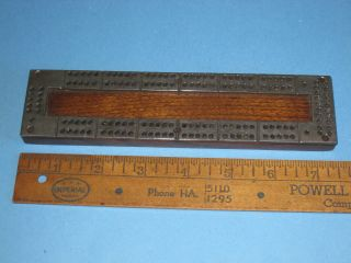 Vintage Cribbage Board C.  1920 ' S Compact Miniature Hardwood & Cast Metal Top photo