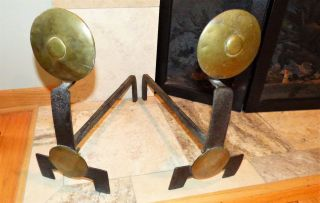 Arts And Crafts,  Mission,  Craftsman,  Brass & Iron Andirons Circa 1910 photo