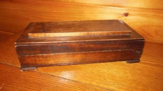 Vintage Wooden Handmade Box / Primitive Box / Early Raised Panel Lid Box photo