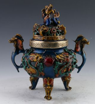 Rare Cloisonne Handwork Dragon Incense Burner & Foo Dog Lid W Xuande Mark photo