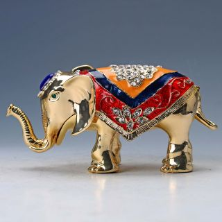 Chinese Collectable Cloisonne Inlaid Rhinestone Handwork Elephant Statue D1385 photo