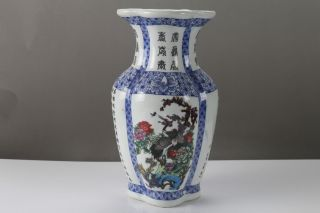 Exquisite Painting Crane Blue And White Porcelain Vase Qianlong Mark H487 photo