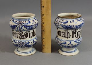 2 Antique Early 18thc Italian Faience Majolica Pharmacy Drug Medicine Jars,  Nr photo