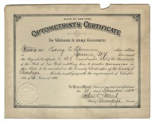 Vintage 1922 Optometrist ' S Certificate No.  458,  State Of York,  Onondaga Coun photo
