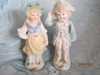 Vintage Antique Bisque Porcelain Figurines Boy & Girl - French Looking Napoleon photo