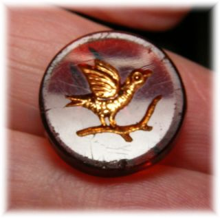 Antique Cranberry Red Glass Button W Incised Golden Bird On Branch photo