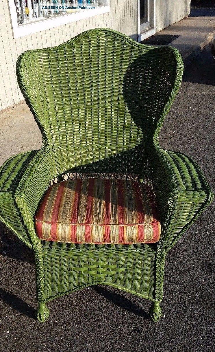 Green Wicker Garden Arm Chair Circa 1930 ' S 1900-1950 photo