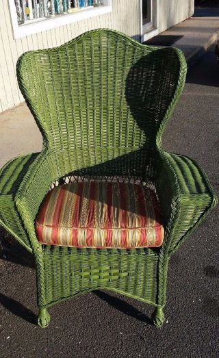 Green Wicker Garden Arm Chair Circa 1930 ' S photo