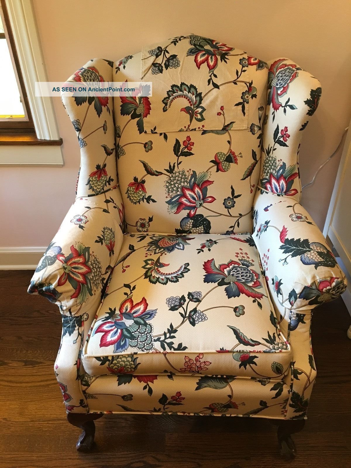 Vintage Wing Back Claw Foot Chair With Matching Foot Stool Post-1950 photo