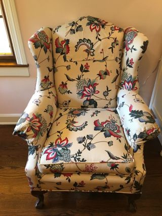 Vintage Wing Back Claw Foot Chair With Matching Foot Stool photo