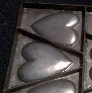 Antique Heart Love 9 Heart Collectible Factory Steel Metal Wall Art Silver Soder photo