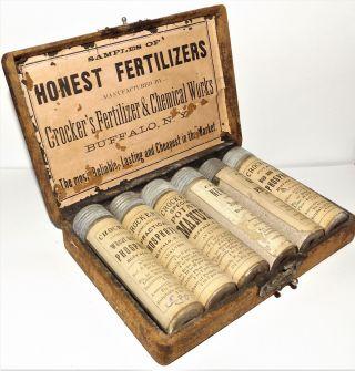 Antique Salesmans Sample Crocker ' S Honest Fertilizers Vintage Six Cased Bottles photo