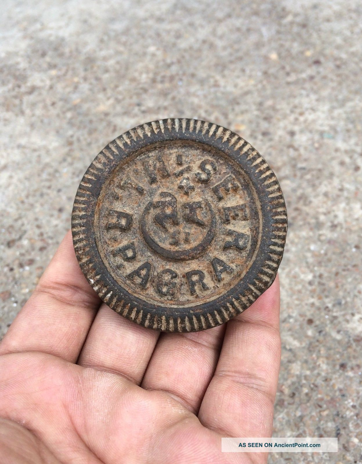 Antique Iron Casted 1/4 Seers Agra Engraved Mercantile Measuring Weight Other Mercantile Antiques photo