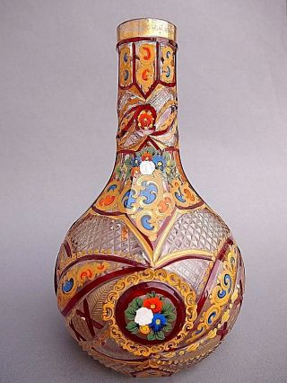 Rare Huqqa Nargileh Base Beykoz Or Bohemian For Turkey ?with Gold & Enamel Paint photo