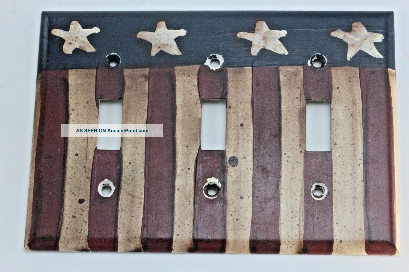 Vintage Style Americana Flag Double Light Switch Cover Plate.  Made In Usa. Switch Plates & Outlet Covers photo