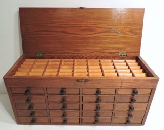 Antique 1900 Watchmakers 20 Drawer Chest Jeweler Lift Top Jewelry Fly Cabinet photo
