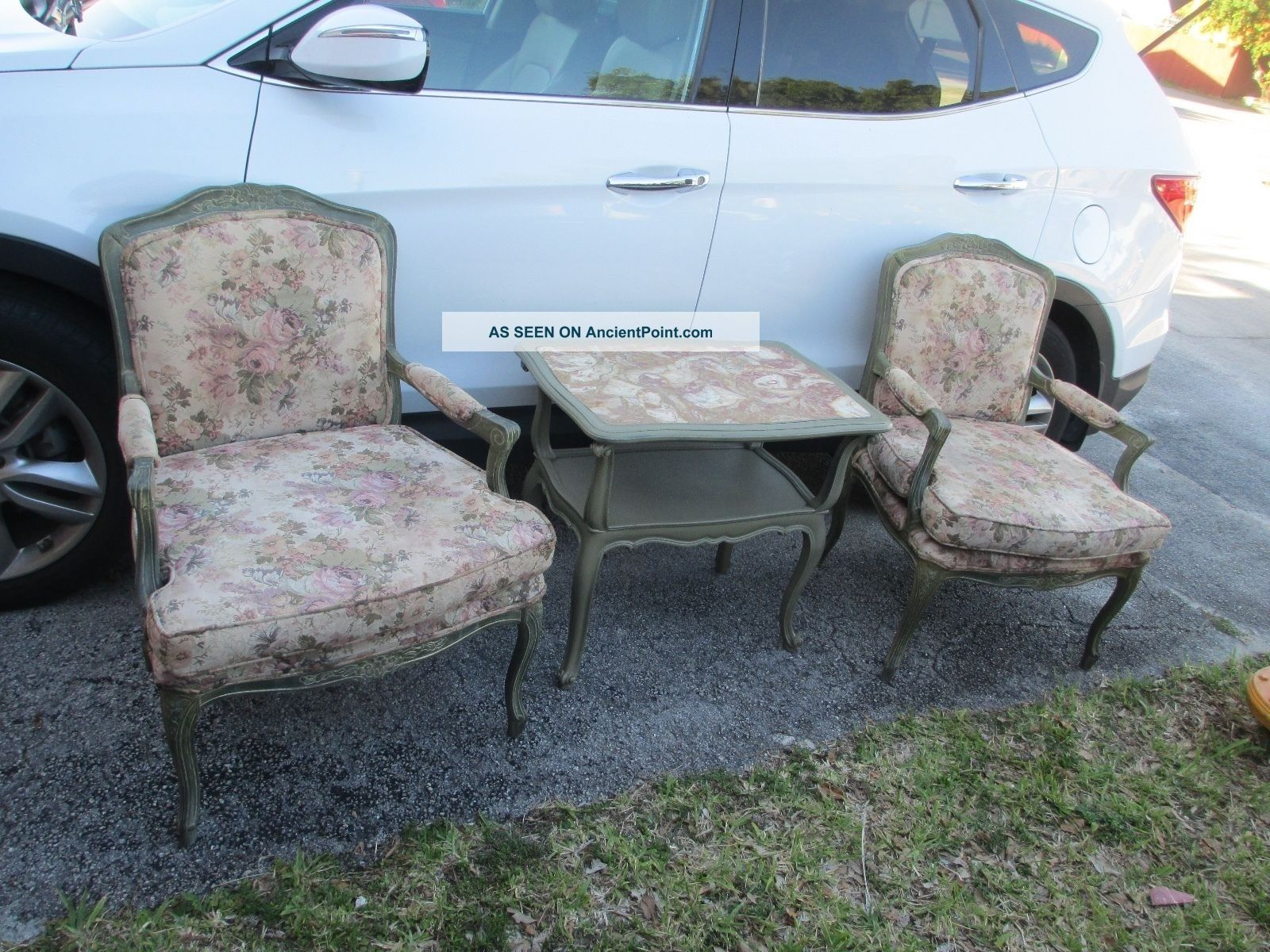 Pair French Louis Xv Style Fauteuils Open Arm Chairs. Post-1950 photo