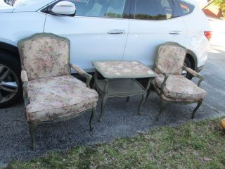 Pair French Louis Xv Style Fauteuils Open Arm Chairs. photo