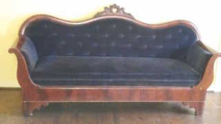 Victorian Sofa,  Late 19th Century,  Camelback,  Black Velvet photo