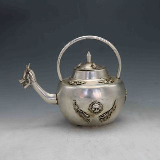 Chinese Silver Copper Hand Carved Dragon Mouthteapot&frog Cover X0265 photo
