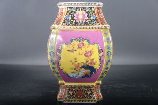 Jingdezhen Color Cloisonne Porcelain Painted Flower Vase Yongzheng Mark E708 photo