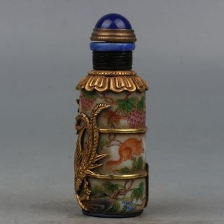 Chinese Exquisite Hand - Paintedanimal And Plant Patterns Glass Snuff Bottle photo