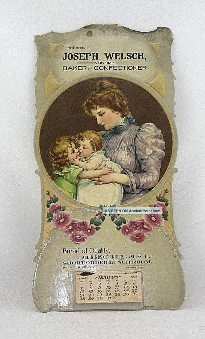 Old 1923 Joseph Welsch Nokomis Illinois Baker Confectioner Advertising Calendar Binding, Embossing & Printing photo