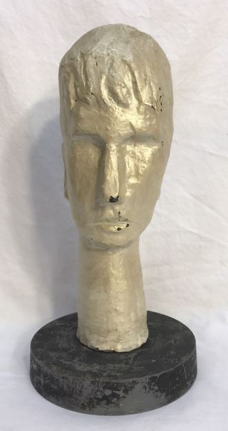 Vintage Cubist Young Man Bust Head Sculpture Statue photo