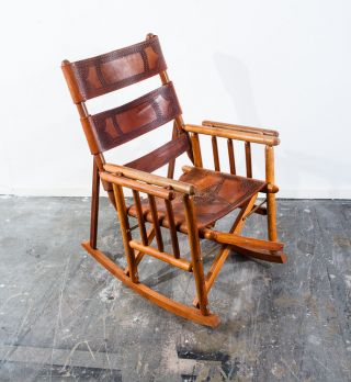 Mid Century Teak Rocking Chair Saddle Leather Folding Campaign Vintage Pazmino photo