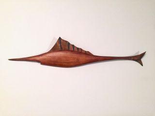 Vtg Wood Copper Metal Sailfish Fish Danish Mid Century Modern Wall Art Sculpture photo