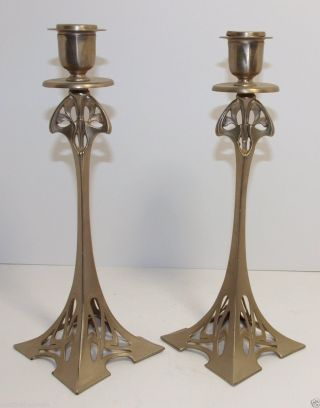 Pair C.  1900 Wmf Art Nouveau Eiffel Tower Pewter Candlesticks photo