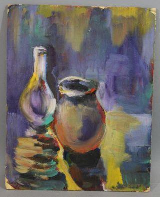 Mid - Century Bela Czobel Hungarian Modernist Fauvist Still Life Oil Painting,  Nr photo