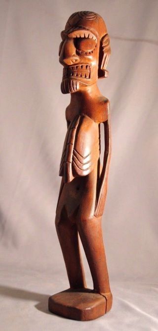 Fine Old Polynesian Easter Island Carved Moai Kavakava Figure Pacific Islands photo