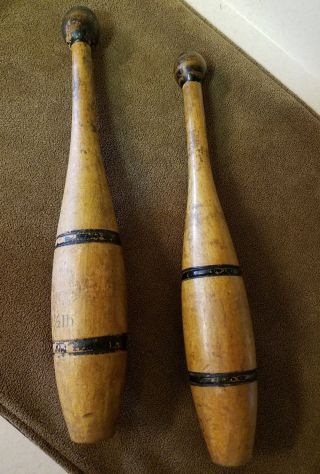 Primitive Antique Vtg Wood Juggling Circus Exercise Club Chic Bowling Pin photo