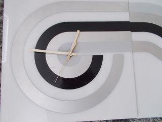 Vtg 2 Pc Wall Clock Panton Era Abstract Modernist Kartell Style Acrylic Retro photo