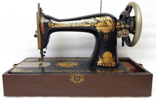 Antique Singer Egyptian Golden Sphinx Model 15 66 Sewing Machine C 1908 photo