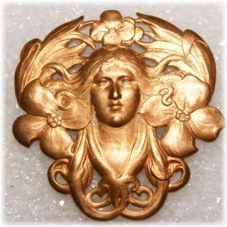Stunning Beauty Art Nouveau Alphonso Mucha Goddess French Casting Button photo