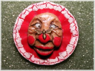 Whimsical Googly Eyed Funny Clown W Bee On His Big Red Nose Studio Button photo