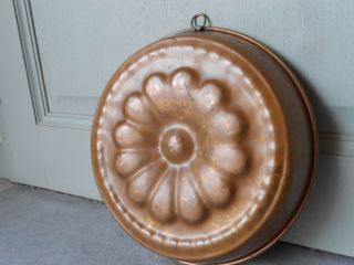 Vintage French Copper Large Flower Mold Jelly Cake Cookware photo