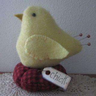 Primitive Wool Baby Chick Bird Make Do Pin Cushion Pfatt photo